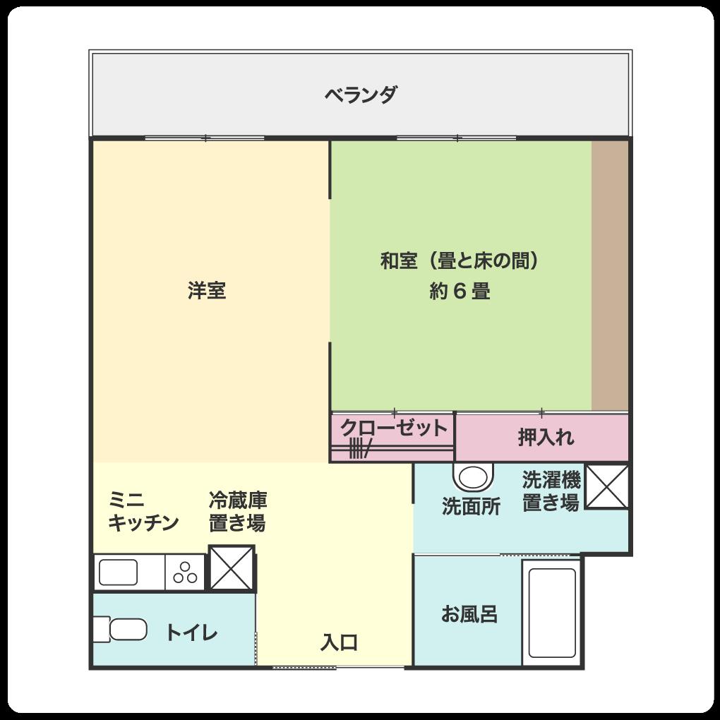 2人住居室(広さ:約13.5畳)